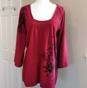 Apt 9 | Maroon Detailed Sweater Tunic